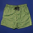 NWT Jared Lang Men's Green/Black Fluorescent Grid  Swim Trunks - L