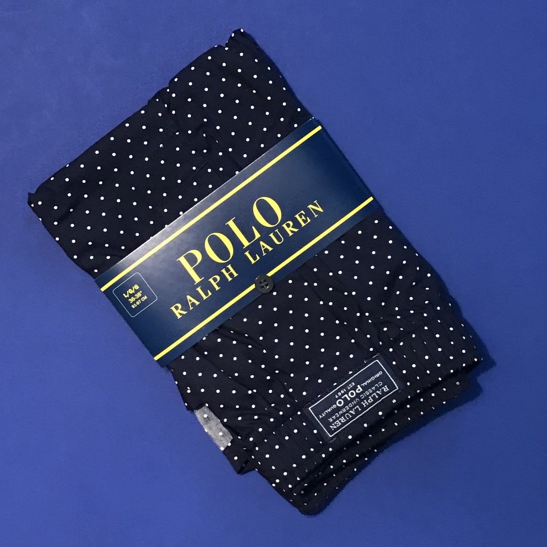 NWT Polo Ralph Lauren Woven Cotton Navy Pin Dot Print Classic Fit Button Front Boxer - L