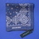 NWT Peter Millar Reversible 100% Wool Blue Bandana Print Handkerchief Pocket Square
