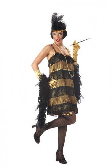 Fashion Flapper Jazz Time Honey Costume Size: Small #00700_Gold & Black