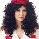 Womens Bandanna BLACK Curly Hair Pirate Costume Wig