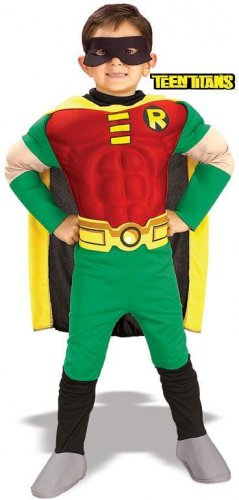 MEDIUM - CHILD Robin Teen Titans-Deluxe Muscle Chest Costume