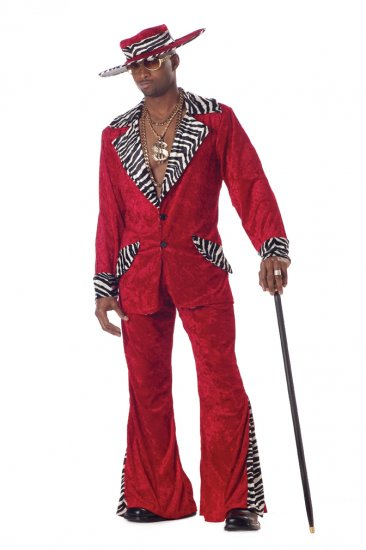 Pimp Daddy Hustler Adult Costume Size: Large #00839_Red