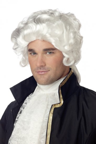 Revolutionary  White Colonial Man Adult Costume Wig #70172
