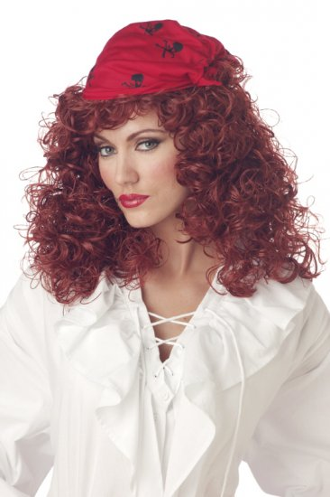Auburn Pirate Wig with Bandanna Costume Wig