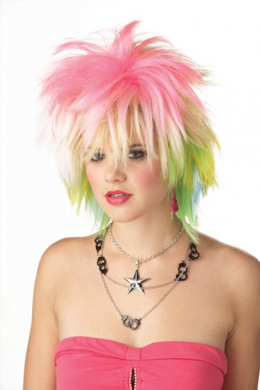 Punky Pop Rock Adult Costume Wig