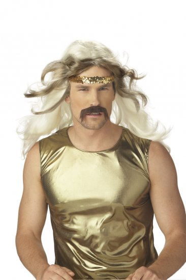 Rock Gold Adult Costume Wig & Mustache #70541