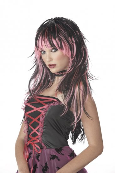 Punk Rock Tempting Tresses Adult Costume Wig #70057_Pink