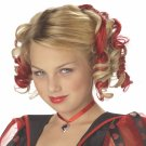 #70608 Queen of Hearts Red Curly Clips Hair Costume Wig Accessory Queen of Heart