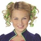 #70609 Alice In Wonderland Green Curly Clips Hair Wig Costume Accessory