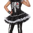 Medium (8-10) - Skelarina Skeleton Bone Gothic Bride Child Costume