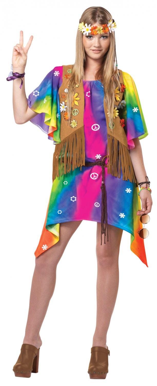 Hippie 60's Groovy Girl Hippie Teen Costume Size: (3-5) #05054
