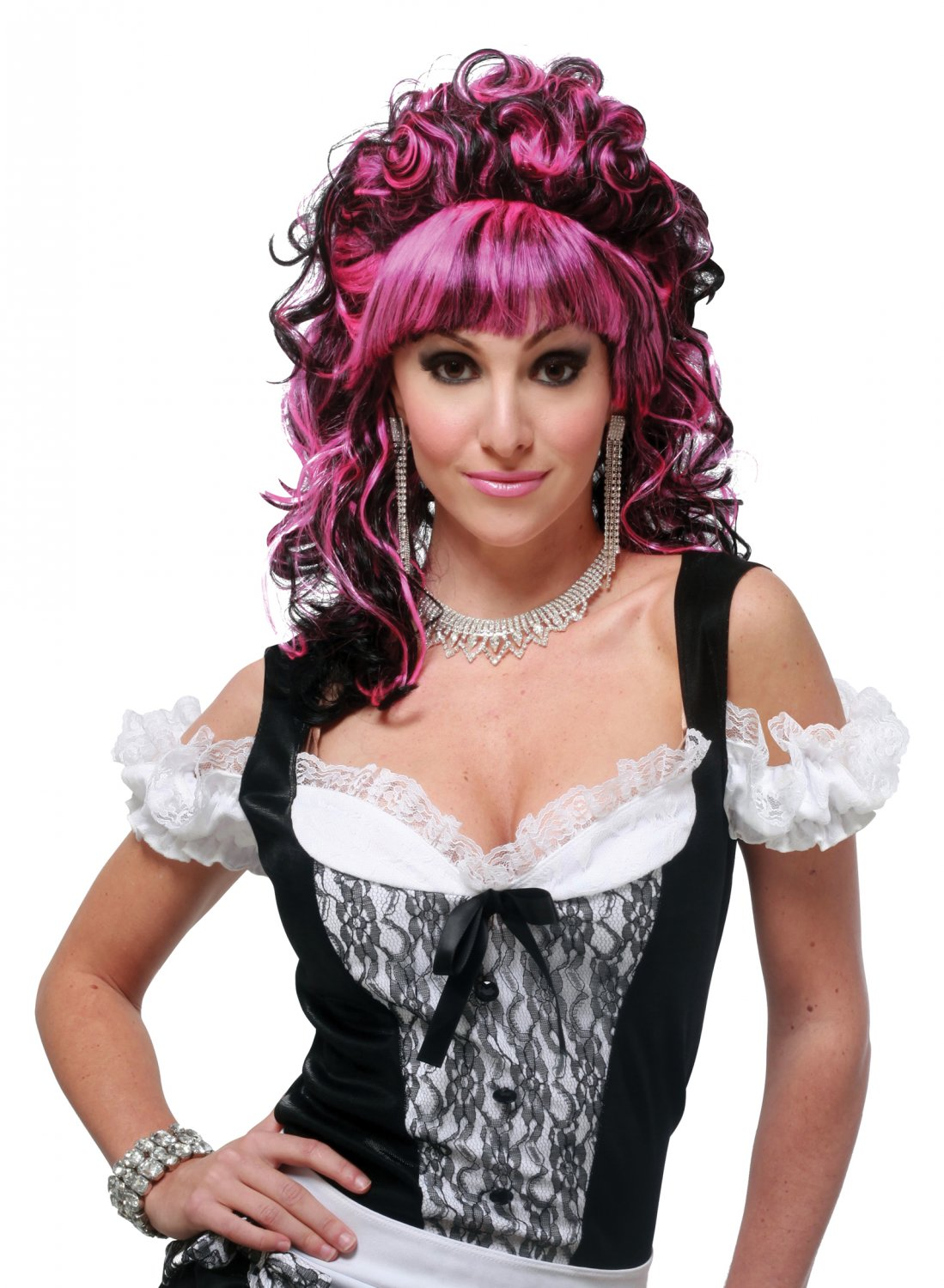 Sexy French Maid  Hot Pink Adult Costume Wig #70682