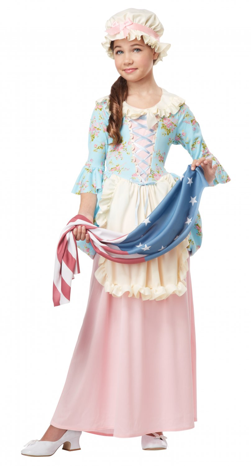 American Flag Betsy Ross Colonial Lady Child Costume Size: X-Large #00431