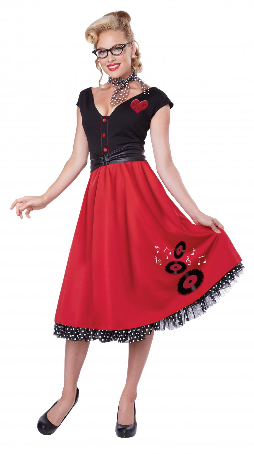 50's Grease Rock N Roll Sweetheart Adult Costume Size: Small