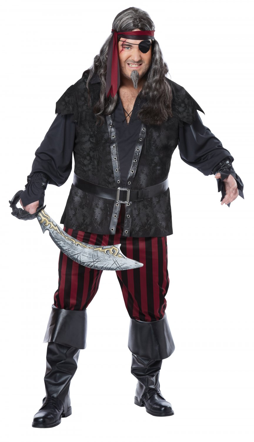 #01739   Jack Sparrow Gothic Buccaneer Pirate Ruthless Rogue Plus Size Adult Costume
