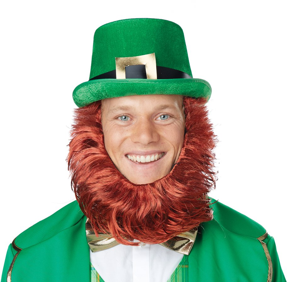 Irish Leprechaun Lucky Charm Get Up Adult Costume Hat & Beard #60666