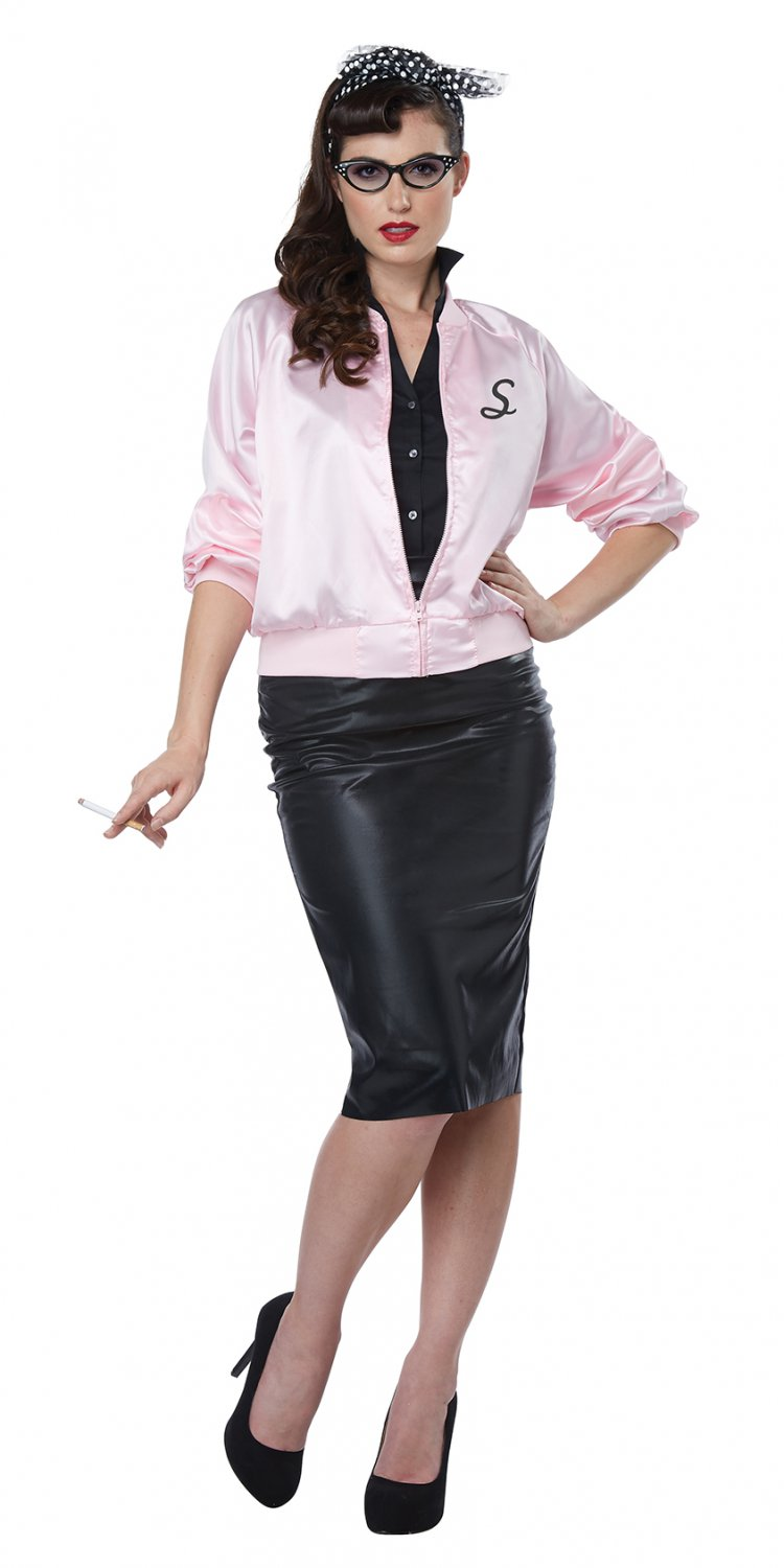 Size: Small #01448 Sandy Grease 50's Satin Varsity Jacket Adult Costume