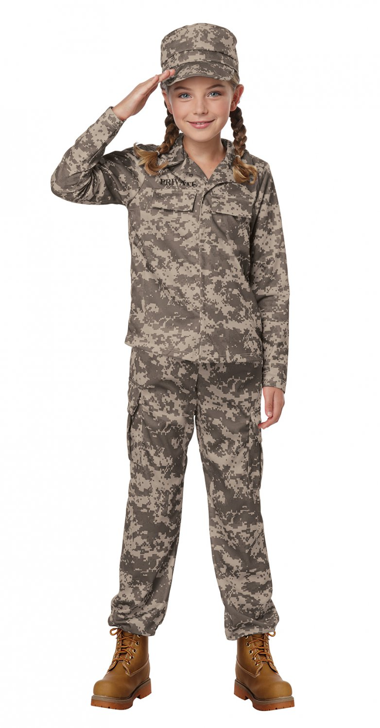Size: Large #00468 U.S.A. Army Marine Navy Soldier GI Jane Camouflage Child Costume