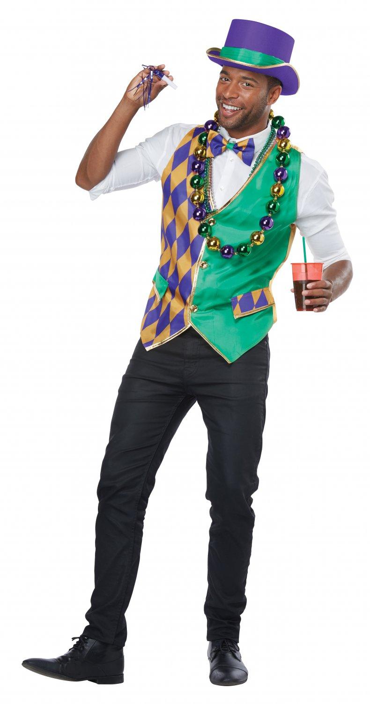 Size: Large/X-Large # 60734  New Orleans Bourbon Mardi Gras Joker Men Adult Costume Vest Kit