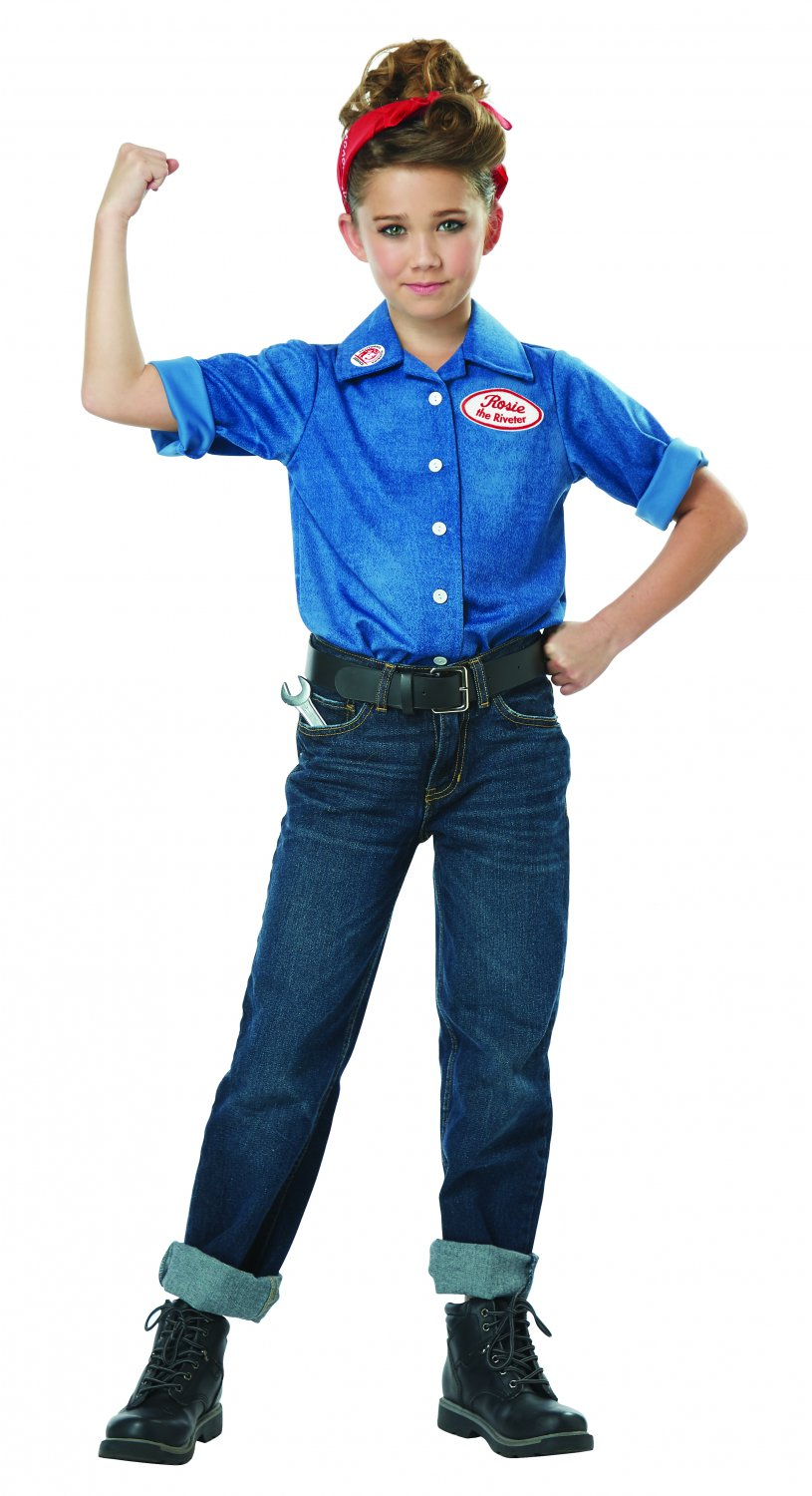 Size: X-Large #00594 WWII 1940's Rosie The Riveter Working Woman Child Costume