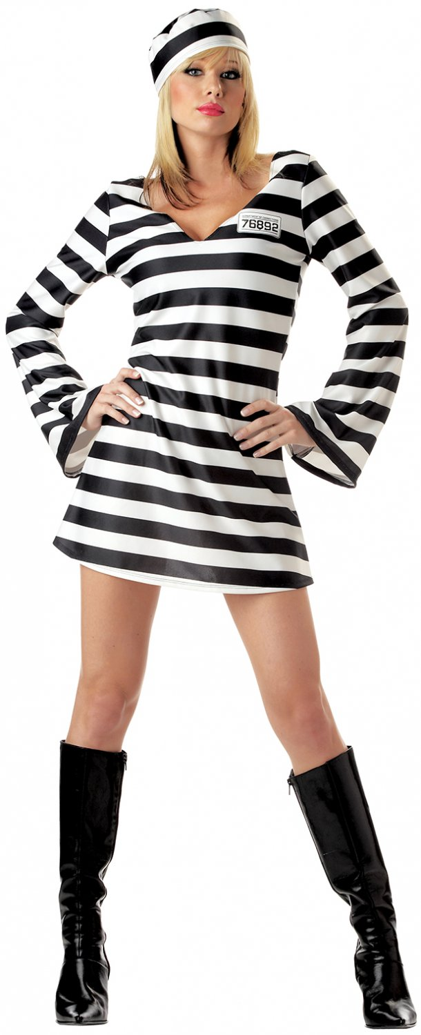 Size: X-Large #00784 Convict Chick Prison Inmate Jailer  Adult Costume