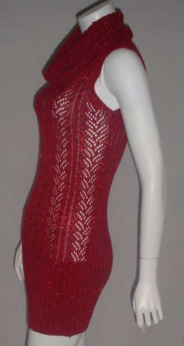 HOTKISS RED  DRAPE NECK  METALLIC SWEATER KNIT DRES- M