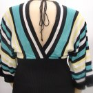Heart N Soul BLACK/TEAL Kimono Knit Sweater- Medium
