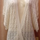 $69 DKNY Sweater Jacket- Ivory, Lurex, v-neck, kimono, Large, Luxe Collection