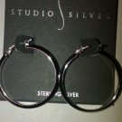 NEW Sterling Silver HOOP EARRINGS , 30mm,  Knife Edge ,STUDIO SILVER , $70 1.25