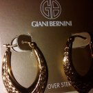 $120 Giani Bernini 24kt Gold  hoop Earrings, Marquise design.