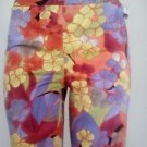 Multicolor floral stretch slim ankle pants
