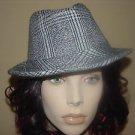 New fedora wool hat. Black/Ivory White- LULU- ONE SIZE
