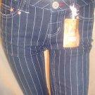 Candie's Stripped Convertible Cuffed Capri/ Cropped Slim Denim Pants Sz1
