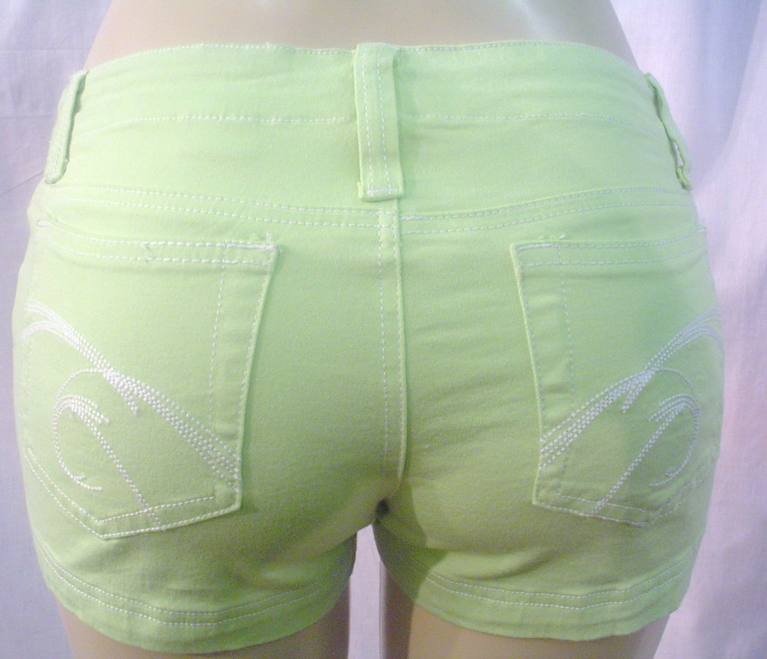 NEW ultra stretchy soft colored denim knit shorts, green sz 11