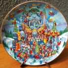 "Franklin Mint Plate ""Christmas Cat-thedral"" by Bill Bell"