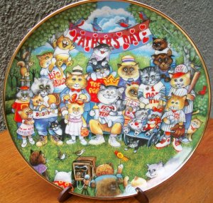"""Franklin Mint Plate """"Purrfect Pops"""" by Bill Bell"""
