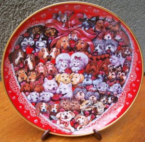 """Franklin Mint Plate """"Puppies' Luv"""" by Bill Bell"""