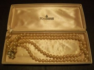 Trifari Faux Pearl Necklace w Rhinestones