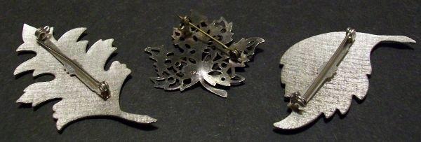 Three Piece Metal Leaf Pin Set