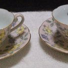Diamond Occupied Japan Floral Teacups and Saucers (Pastel Pink)
