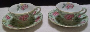 Diamond Occupied Japan Floral Teacups and Saucers (Pastel Green)