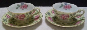 Diamond Occupied Japan Floral Teacups and Saucers (Pastel Yellow)