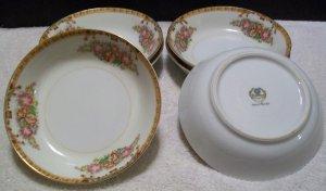 Diamond China 6 Dessert/Cereal Bowls (Roslyn Pattern)