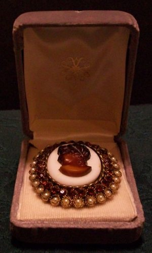 Cameo Pin with Real Pearls and Brown Garnets
