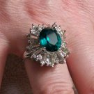 18k HGE Cubic Zirconia Ring with Synthetic Emerald