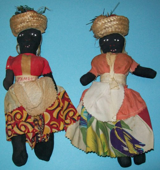 Vintage Jamaican Cloth Dolls (set of 2)