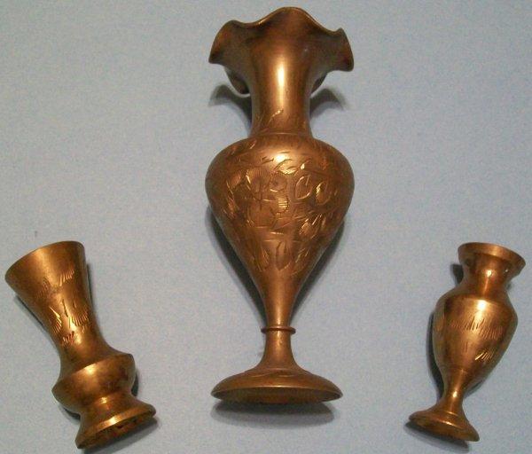 Three Mini (India) Brass Vases