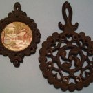 Set of 2 Vintage Cast Iron Trivets-1952 JZH and Japan
