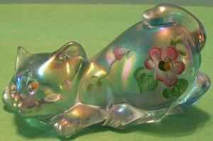 Fenton Light Blue Carnival Cat with Flowers (small)
